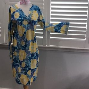 LILLY PULITZER RESORT DRESS COVER UP BLUE YELLOW